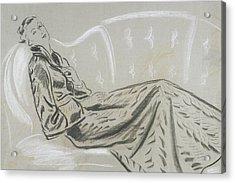 Sketch Of A Woman Wearing A Matelasse House Robe Acrylic Print by Eduardo Garcia Benito
