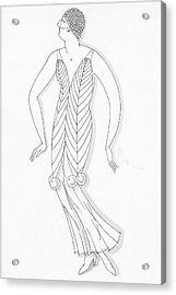 Sketch Of A Woman Wearing White Mistletoe Costume Acrylic Print by Robert E. Locher