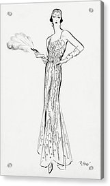 Sketch Of Munoz Wearing Evening Gown Acrylic Print