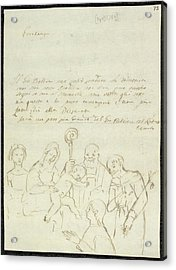 Sketch Of Old Master Painting Acrylic Print by British Library