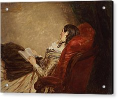 Sketch Of The Artists Wife Asleep Acrylic Print by William Powell Frith