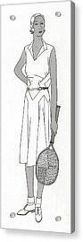 Sketch Of Woman In Tennis Dress Acrylic Print