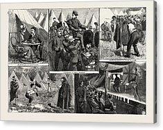 Sketches At The Volunteer Camp, Wimbledon, Engraving 1884 Acrylic Print
