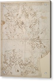 Sketches For Compositions And Groups Acrylic Print by Circle of Paolo Veronese