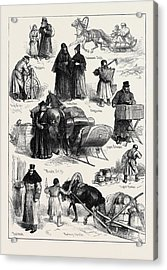 Sketches In St. Petersburg Beggars Tradesmans Sleigh Monk Acrylic Print
