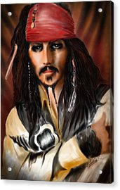 Sketching A Pirate... Acrylic Print by Alessandro Della Pietra