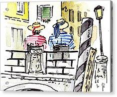 Sketching Italy Two Gondoliers In Venice Acrylic Print by Irina Sztukowski