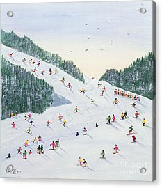 Ski Vening Acrylic Print by Judy Joel