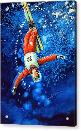 Skier Iphone Case Acrylic Print by Hanne Lore Koehler