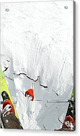 Skier Jumps Off Cliff Under Chairlift Acrylic Print by Connor Walberg