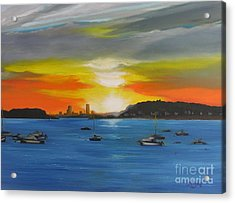 Skies Over The City Acrylic Print by Barbara Hayes