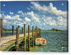 Skiff And Pier Acrylic Print