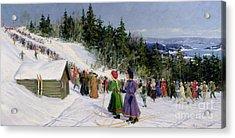 Skiing Competition In Fjelkenbakken Acrylic Print by Gustav Wentzel