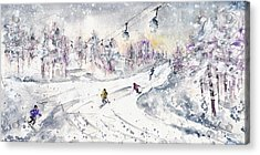 Skiing In The Dolomites In Italy 01 Acrylic Print