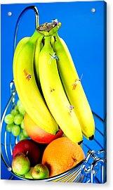 Skiing On Banana Little People On Food Acrylic Print by Paul Ge