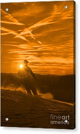 Skiing West Virgina Sunset Acrylic Print by Dan Friend