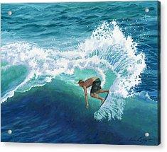 Skimboard Surfer Acrylic Print by Alice Leggett