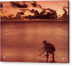Acrylic Print featuring the photograph Skimboarding At Dawn by Timothy Lowry