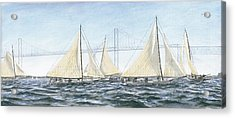 Acrylic Print featuring the painting Skipjacks Racing Chesapeake Bay Maryland by G Linsenmayer
