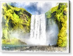 Skogafoss Waterfall Iceland Painting Aquarell Watercolor Acrylic Print