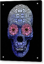 Skull Art - Day Of The Dead 1 Stone Rock'd Acrylic Print by Sharon Cummings