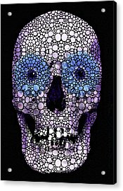 Skull Art - Day Of The Dead 2 Stone Rock'd Acrylic Print by Sharon Cummings