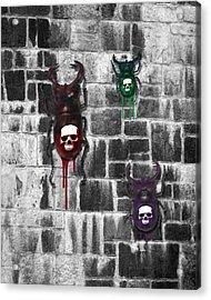 Skull Backed Beatles Acrylic Print by Diana Shively