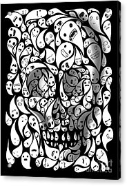 Acrylic Print featuring the painting Skull Doodle by Sassan Filsoof