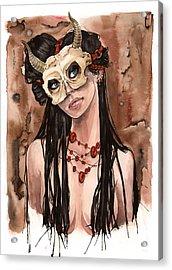 Skull Mask Acrylic Print by Carla Wyzgala