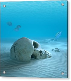 Skull On Sandy Ocean Bottom Acrylic Print by Johan Swanepoel