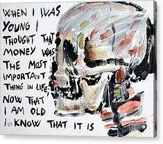 Skull Quoting Oscar Wilde.3 Acrylic Print by Fabrizio Cassetta