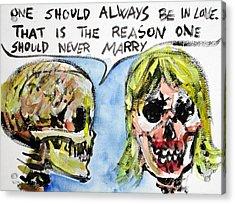 Skull Quoting Oscar Wilde.5 Acrylic Print by Fabrizio Cassetta