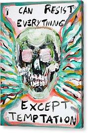 Skull Quoting Oscar Wilde.7 Acrylic Print by Fabrizio Cassetta