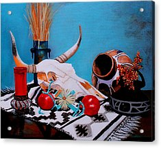 Acrylic Print featuring the painting Skull Still Life by M Diane Bonaparte