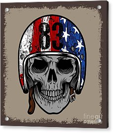 Skull With Retro Helmet And American Acrylic Print