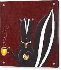Skunk With Coffee Acrylic Print by Christy Beckwith
