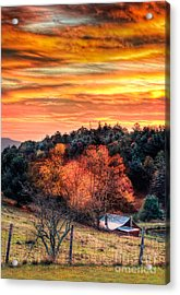 Sky Ablaze - Blue Ridge Sunrise I Acrylic Print by Dan Carmichael