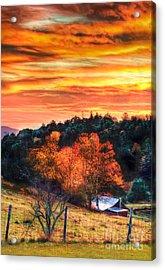 Sky Ablaze - Blue Ridge Sunrise II Acrylic Print by Dan Carmichael