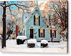Sky Blue Gingerbread House  Acrylic Print by Dorothy Walker