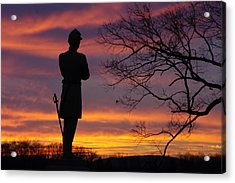 Sky Fire - 124th Ny Infantry Orange Blossoms-1a Sickles Ave Devils Den Sunset Autumn Gettysburg Acrylic Print by Michael Mazaika