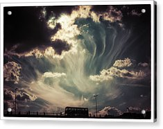 Sky Wisps Over A Double Decker Acrylic Print