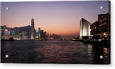 Skyline At Waterfront During Dusk Acrylic Print by Panoramic Images
