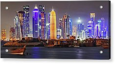 Skyline In Doha Acrylic Print by Babak Tafreshi