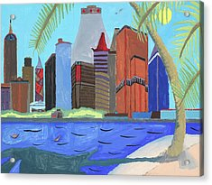 Acrylic Print featuring the painting Skyline by Artists With Autism Inc