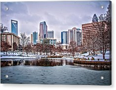 Acrylic Print featuring the photograph Skyline Of Uptown Charlotte North Carolina At Night by Alex Grichenko