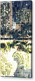 Skyscraper Reflection Painting Acrylic Print by PainterArtist FIN
