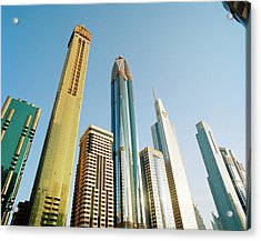 Skyscrapers Along Sheikh Zayed Road At Acrylic Print by Gary Yeowell