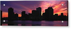 Skyscrapers At The Waterfront, River Acrylic Print by Panoramic Images