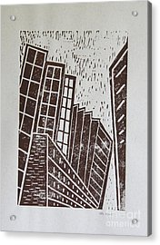 Skyscrapers - Block Print Acrylic Print by Christiane Schulze Art And Photography