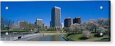 Skyscrapers Near A Canal, Browns Acrylic Print by Panoramic Images